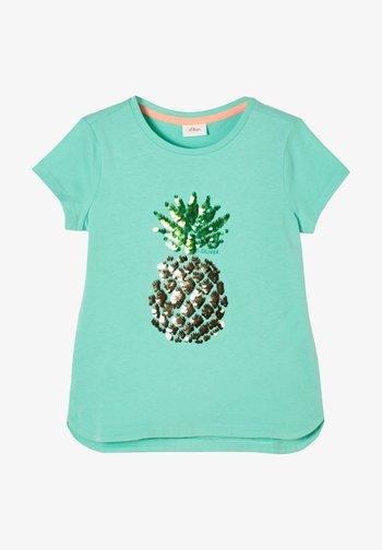 MIT PAILLETTEN-MOTIV - Print T-shirt - turquoise