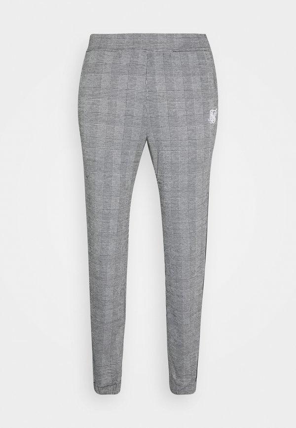 SIKSILK DOG TOOTH CHECK CUFFED PANT - Spodnie materiałowe - black/white/czarny Odzież Męska XKKQ