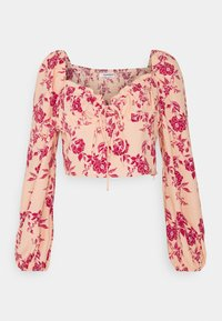 PUFF LONG SLEEVE LOW NECK CROP WITH TIE DETAIL - Long sleeved top - peach/pink