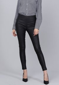 Basics and More - Leather trousers - black - 0