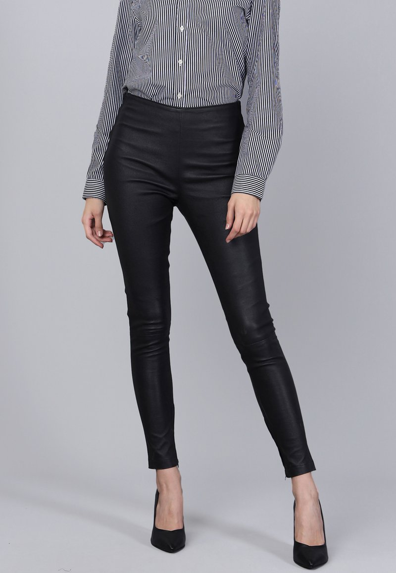 Basics and More - Leather trousers - black