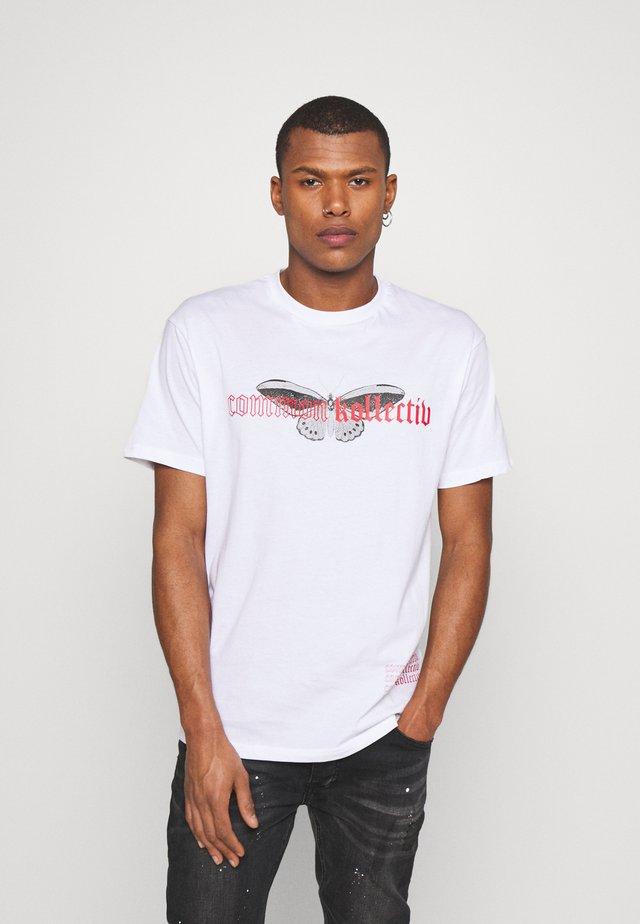 BUTTERFLY UNISEX - T-shirt imprimé - white