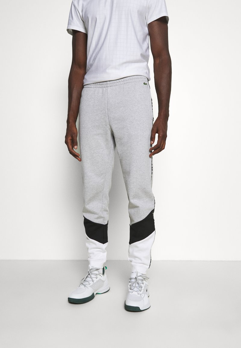 Lacoste Sport - PANT TAPERED - Tracksuit bottoms - gris chine/noir/blanc