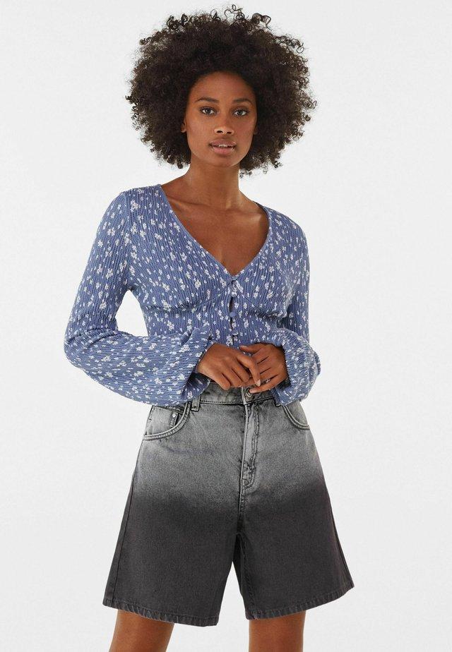 V-AUSSCHNITT - T-shirt à manches longues - blue