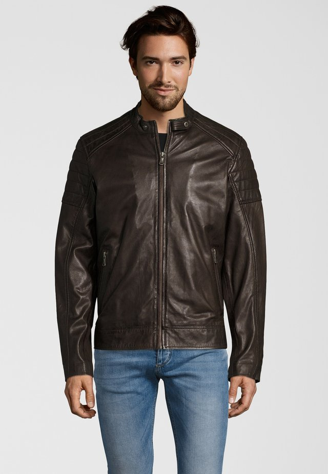 IOWA - Leather jacket - dark brown