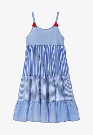 MIT QUASTEN - Day dress - blitzblau/feine streifen