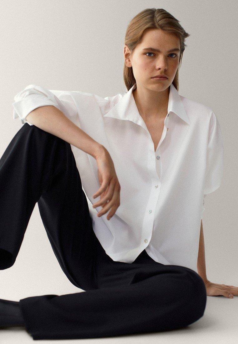 Massimo Dutti - POPELIN - Button-down blouse - white
