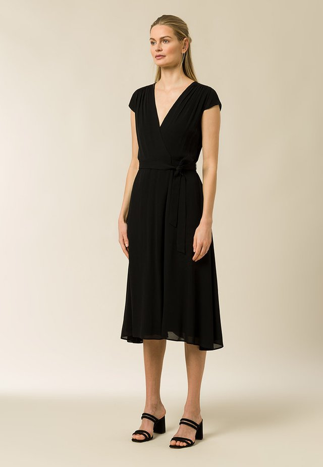 WRAP DRESS MIDI LENGTH - Robe d'été - black