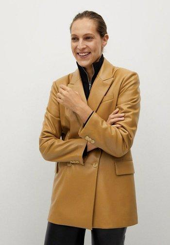 COMBI - Faux leather jacket - karamell