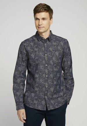 Shirt - navy tonal big leaf design