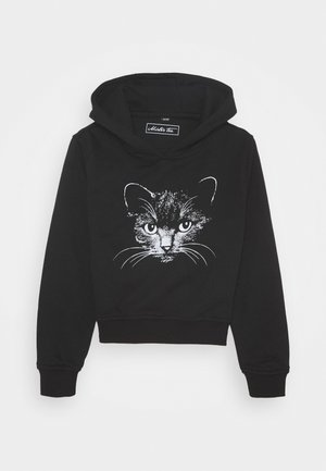 KIDS CAT CROPPED HOODY - Mikina s kapucí - black
