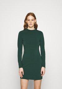 Even&Odd - Mini high neck long sleeves bodycon dress - Shift dress - dark green - 0