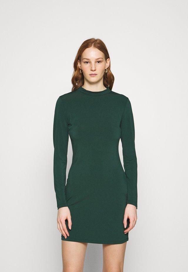 Mini high neck long sleeves bodycon dress - Shift dress - dark green