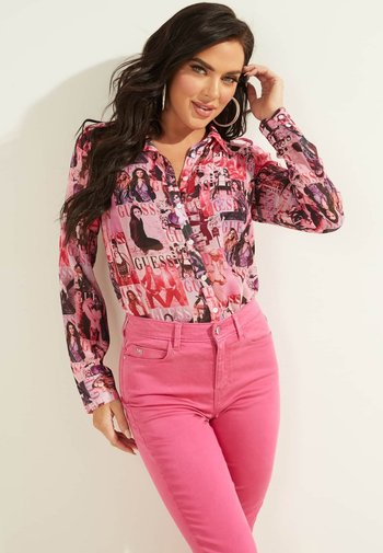 Button-down blouse - mehrfarbe rose