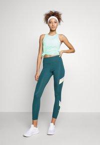 Nike Performance - ONE STRIPE 7/8  - Tights - dark teal green/lime glow - 1