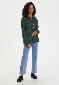 Kaffe - KANORA - Button-down blouse - dark green stripe print - 1