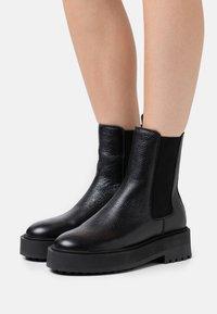 Zign - LEATHER - Platform ankle boots - black - 0