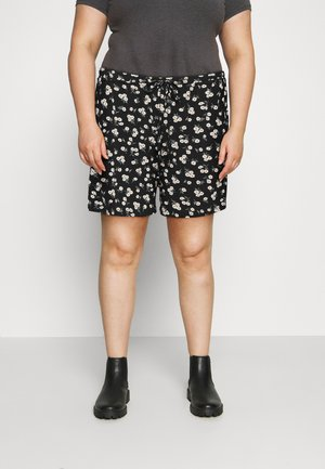 ELASTICATED TIE HIGH WAISTED - Shorts - black/white