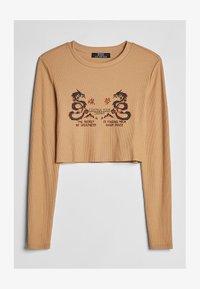 Bershka - MIT PATENT - T-shirt à manches longues - beige - 4