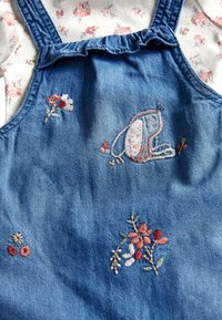 Next - DENIM BUNNY EMBROIDERED DUNGAREES AND FLORAL BODYSUIT SET (0MTHS - Body - blue - 3