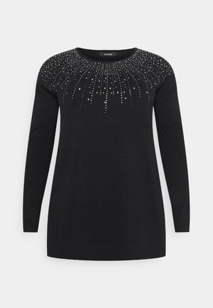 V NECK JUMPER - Jumper - black
