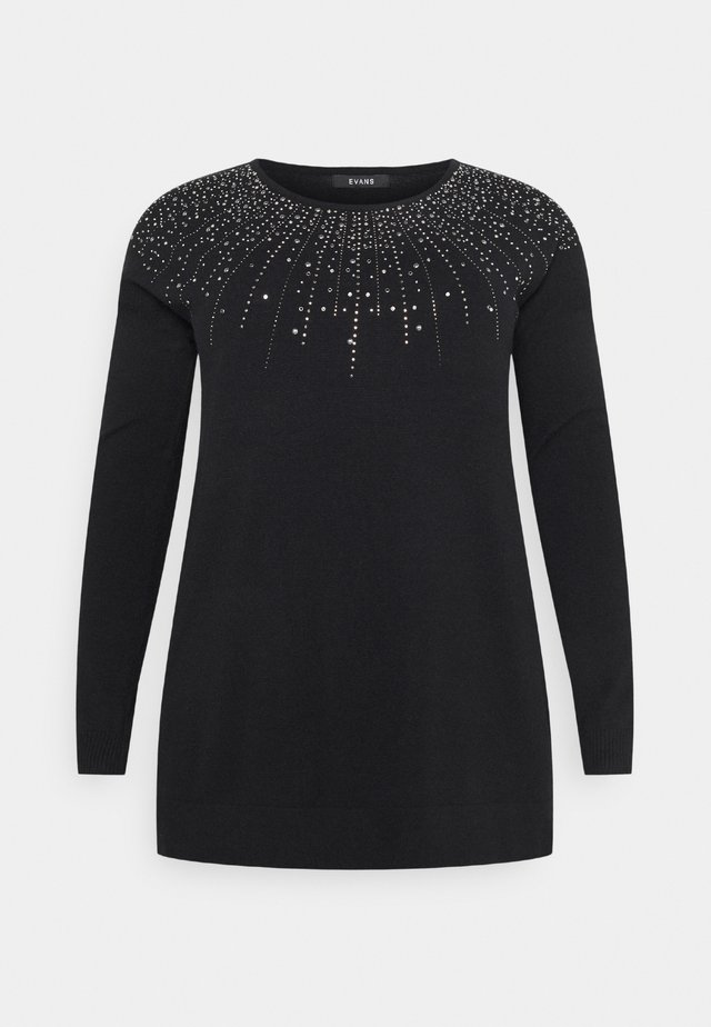 V NECK JUMPER - Jersey de punto - black