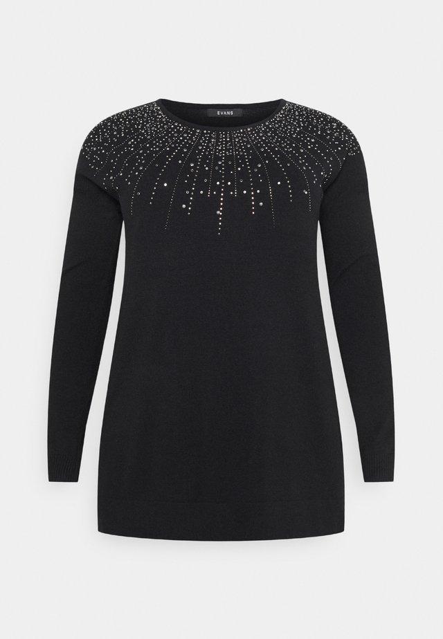 V NECK JUMPER - Pullover - black