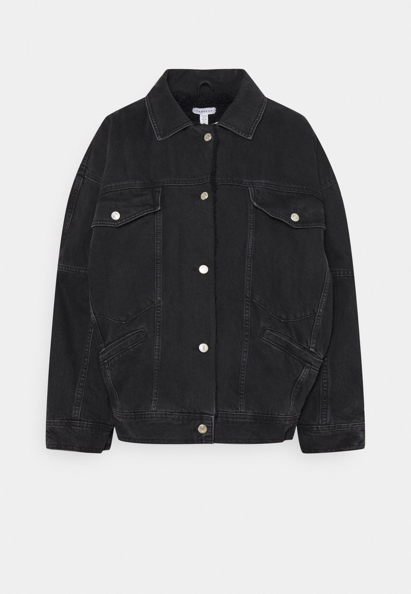 Topshop Petite - BORD DAD JACKET - Denim jacket - washed black