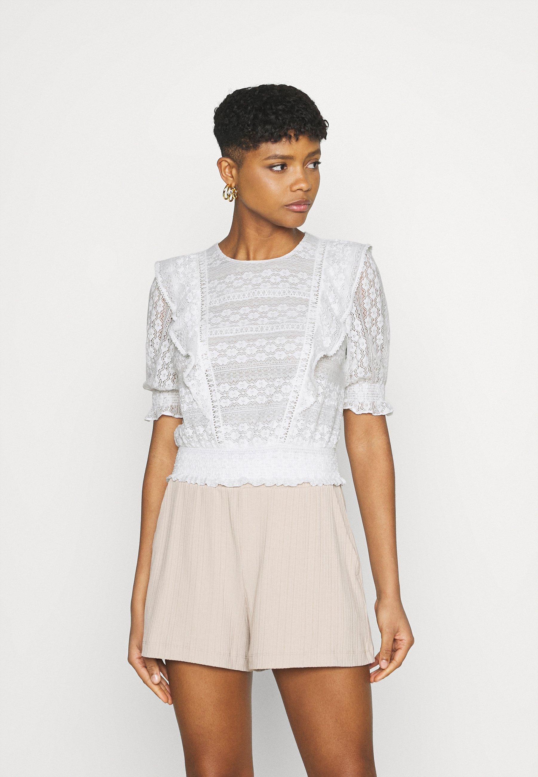 Femme OLIVIA TRIM RUFFLE CROP - T-shirt imprimé