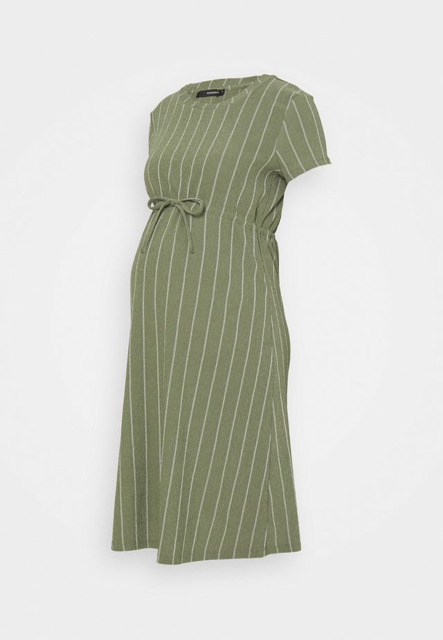 DRESS STRIPE - Jerseyklänning - dusty olive