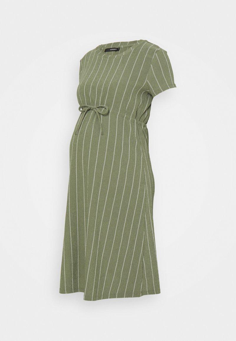 Supermom - DRESS STRIPE - Jersey dress - dusty olive