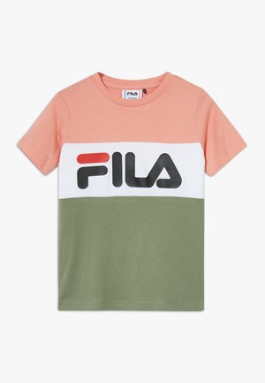 DAY BLOCKED TEE - Print T-shirt - lobster bisque/sea spray/bright white