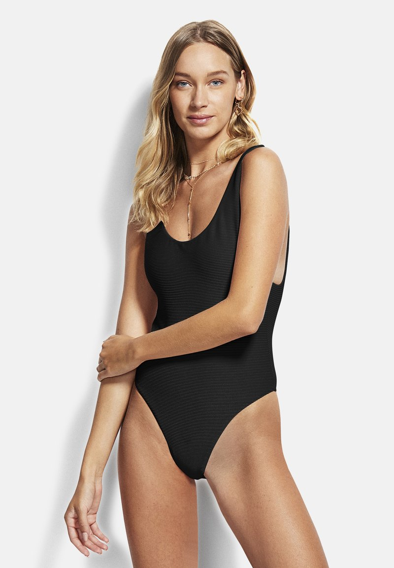 Seafolly - ESSENTIALS RETRO TANK MAILLOT - Swimsuit - black