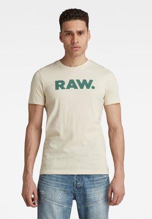 RAW SLIM T-SHIRT - T-shirt print - ecru