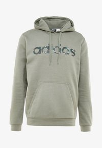 adidas Performance - CAMO ESSENTIALS LINEAR SPORT HODDIE SWEAT - Felpa con cappuccio - green - 4