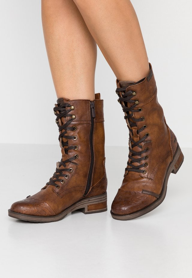 Lace-up boots - cognac