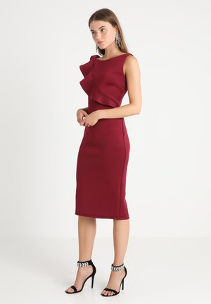 ASYMETRICAL FRILL MIDI BODYCON - Day dress - aubergine