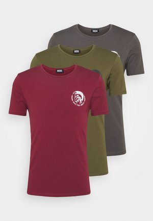 UMTEE RANDAL 3 PACK - Basic T-shirt - burgundy/ dark grey/ olive