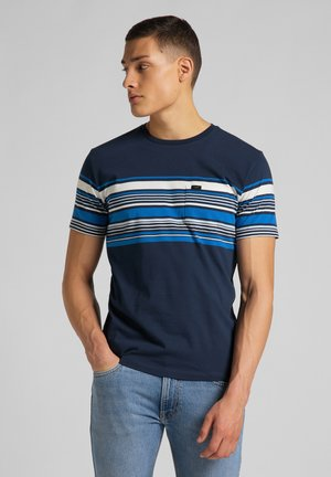 STRIPY PKT - Print T-shirt - navy