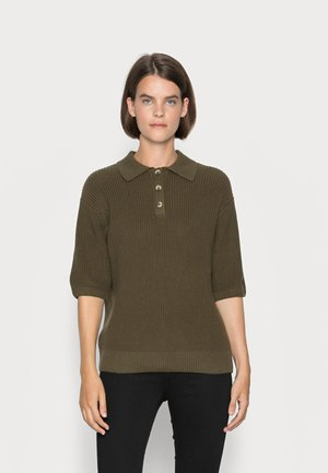 SHORT SLEEVE WITH POLO COLLAR AND BUTTON PLACKET - Print T-shirt - burnished logs