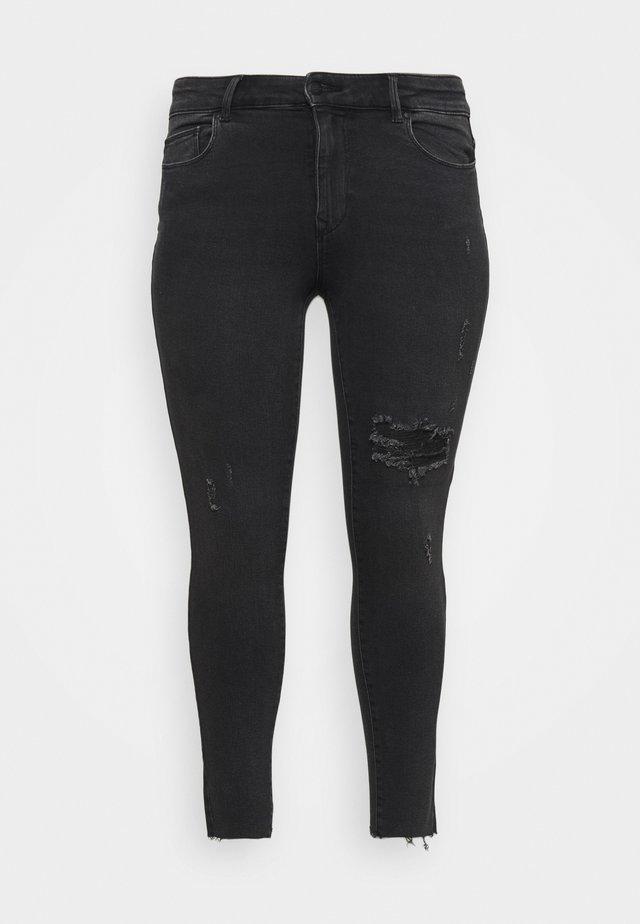 CARRUSH LIFE REG SK ANK RAW - Jeans Skinny Fit - black denim