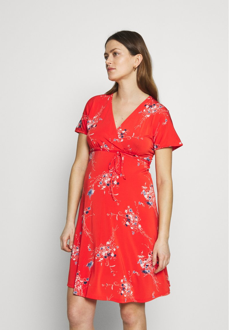 Balloon - NURSING WRAPP DRESS FLOWER PRINT - Denní šaty - red