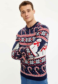 DeFacto - CHRISTMAS - Stickad tröja - navy - 1