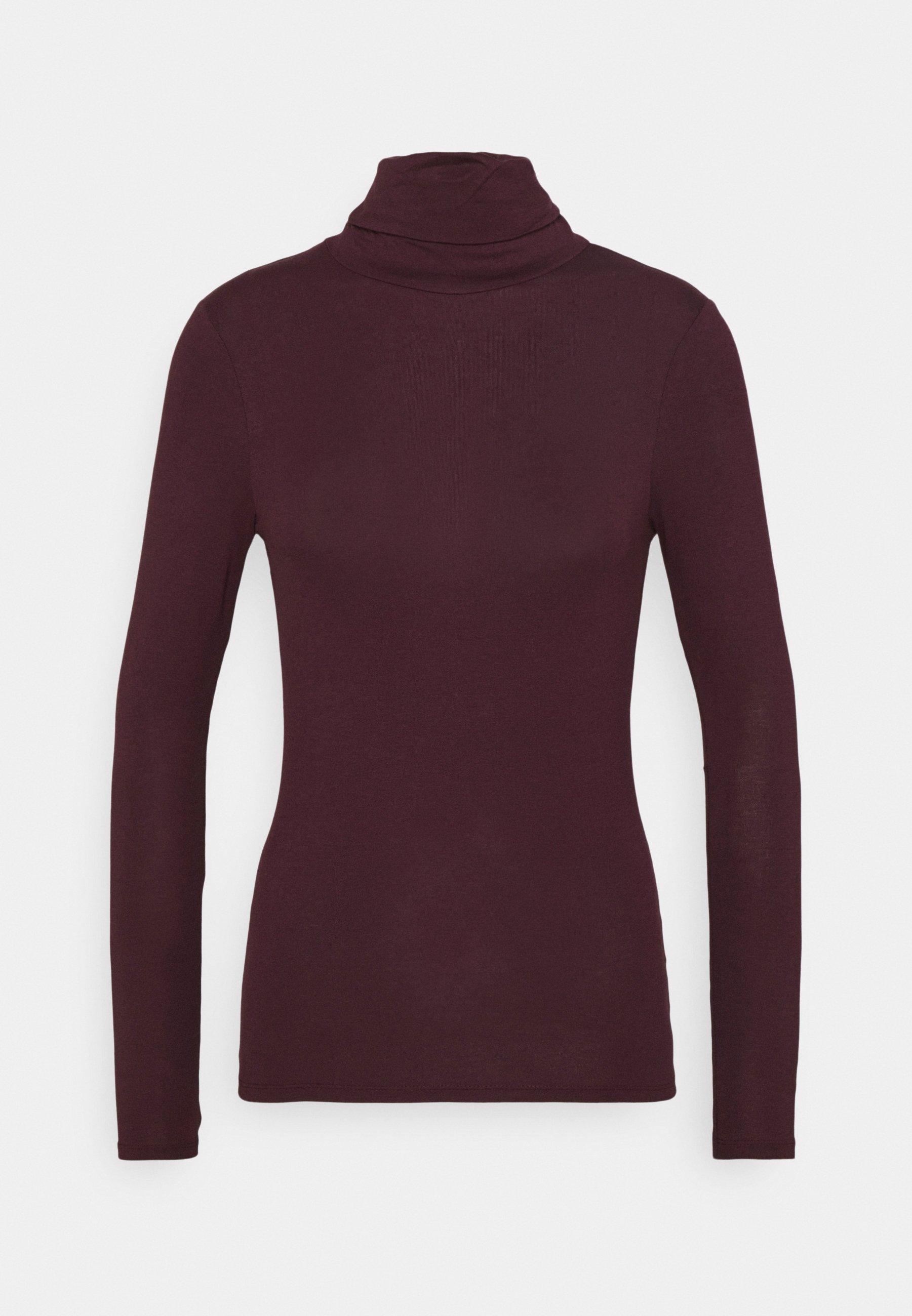 Women ROLL NECK - Long sleeved top - dark burgundy