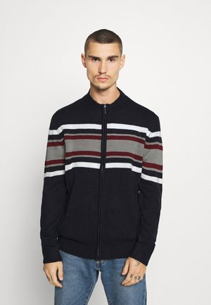 Cardigan - french navy/silver grey marl/vintage white/garnet