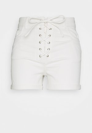 Pamela Reif x NA-KD TIE DETAIL - Denim shorts - white