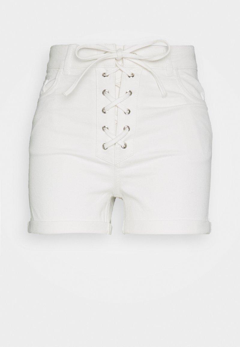 NA-KD - Pamela Reif x NA-KD TIE DETAIL - Denim shorts - white