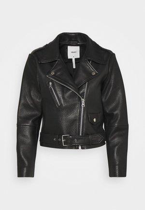 OBJMONIQUE L JACKET PETIT - Kožená bunda - black