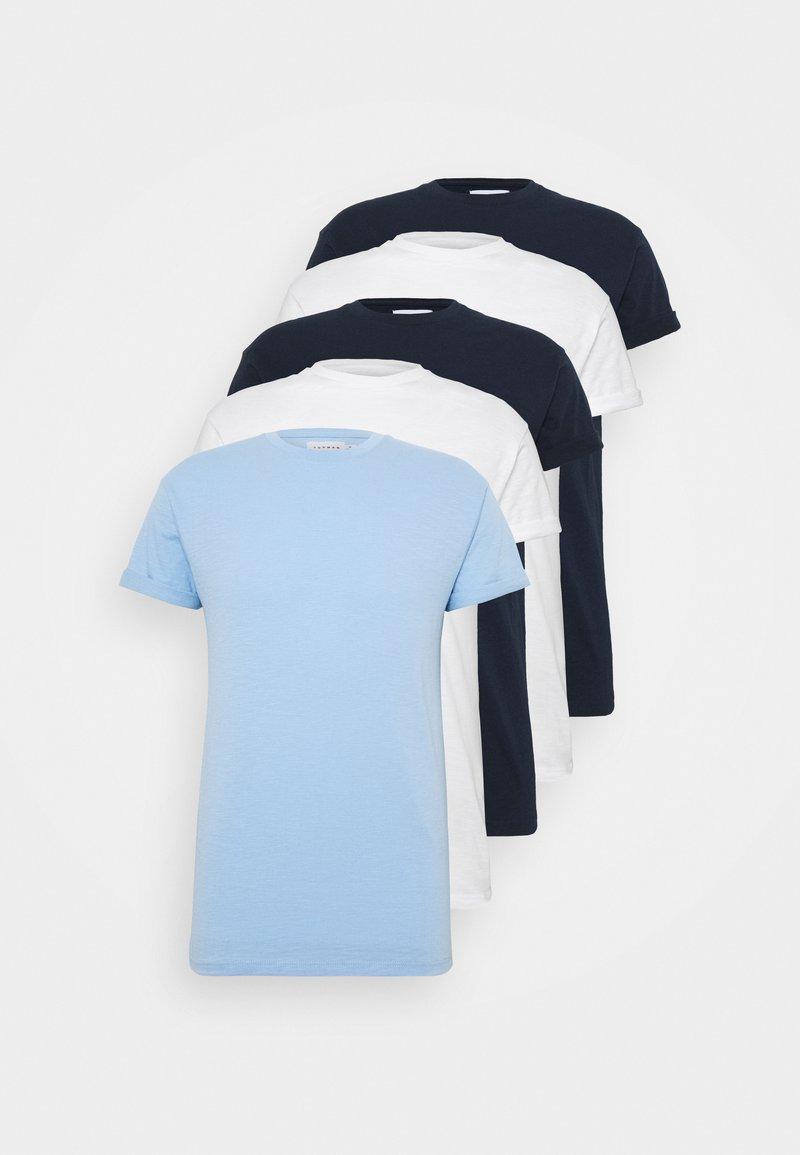 Topman - 5PACK - T-shirts basic - white/dark blue/blue