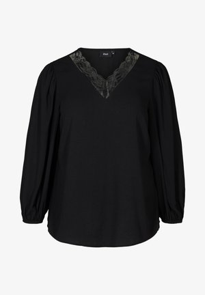 WITH A V-NECK AND LACE TRIM - Blouse - black